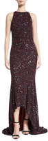Theia Beaded High-Neck High-Low Gown, Burgundy/Navy