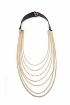 House Of Harlow Long Chain Black Leather Necklace
