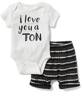 Old Navy Graphic Bodysuits & Printed Shorts Set for Baby