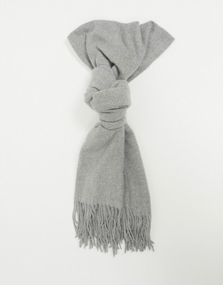 Pieces scarf with tassels in light grey