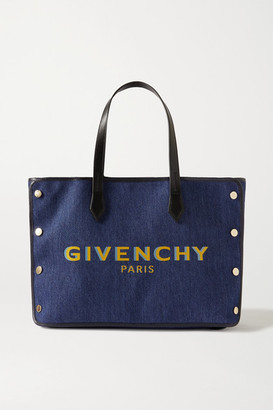Givenchy Bond Leather-trimmed Printed Denim Tote - Blue
