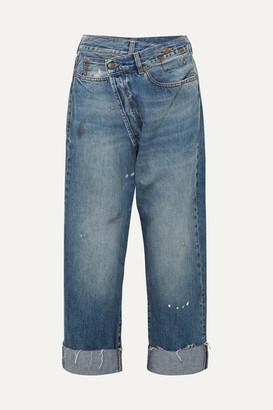 R 13 Crossover Asymmetric Distressed High-rise Wide-leg Jeans - Mid denim