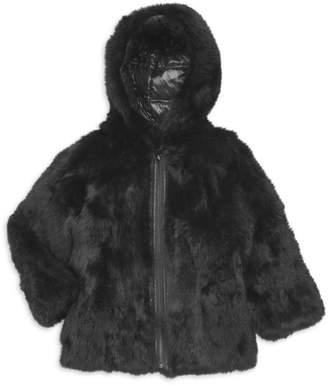 Adrienne Landau Little GIrl's & Girl's Reversible Rabbit Fur Hooded Jacket