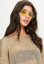 Missguided Yellow Lens Aviator Sunglasses, Yellow