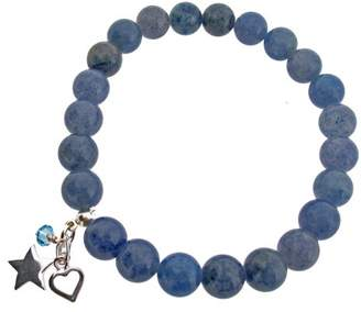 Earth Blue Aventurine Beaded Stretch Bracelet with Sterling Silver Heart and Star Charms and Swarovski Crystal Bead - from the Collection