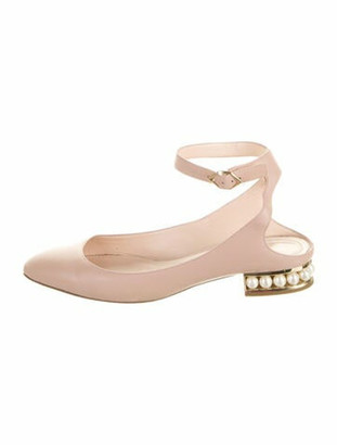 Nicholas Kirkwood Faux Pearl Accents Leather Ballet Flats Pink