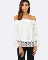 Forever New Sharee Tiered Lace Trim Bardot Top