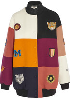 Stella McCartney Embroidered Patchwork Wool-blend Bomber Jacket - Black