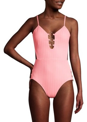 No Boundaries Juniors' Ring Cut Out One Piece Swimsuit