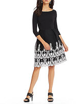 Adrianna Papell Embroidered Midi Fit And Flare Dress
