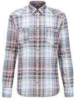 HUGO BOSS Plaid Cotton Button-Down Shirt, Extra Slim Fit Erodeo M light pink