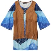 My Michelle Girls 7-16 Chevron Dress & Fringe Vest Set