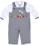 Florence Eiseman Gingham Train Overalls w/ Polo Shirt, Navy/White, Size 6-24 Months
