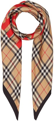 Burberry Horseferry Print Vintage Check Silk Square Scarf