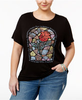 Disney Beauty and the Beast Trendy Plus Size Cotton Rose Graphic T-Shirt