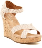Toms Canvas Woven Geometric Print Wedge Sandal