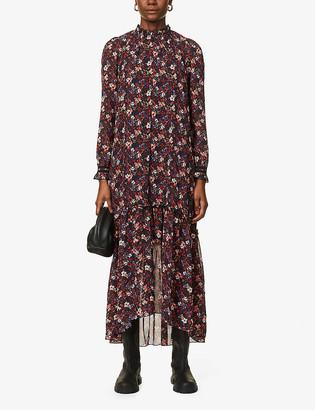 Frill-trimmed floral-print crepe maxi dress