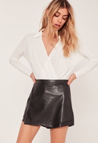 Missguided Black High Waisted Faux Leather Skort