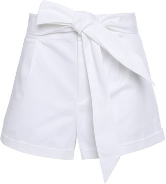 Rebecca Minkoff Belted Pleated Cotton-blend Twill Shorts