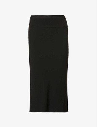 Rick Owens High-waisted crepe midi skirt