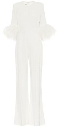 Elie Saab Feather-trimmed crApe jumpsuit