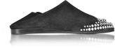McQ by Alexander McQueen Liberty Fold Black Suede Studded Slipper