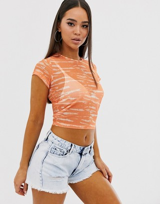 Asos Design DESIGN fitted mesh top in tie dye with cap sleeve