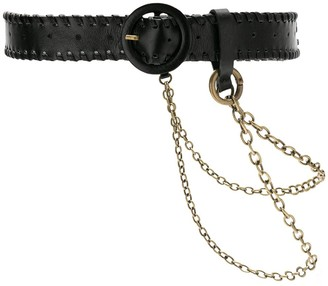 Nk Leather Belt With Chain
