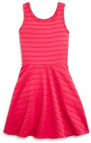 Aqua Girls' Textured Stripe Skater Dress - Sizes S-XL