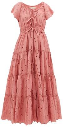 Innika Choo Broderie-anglaise Cotton Dress - Womens - Pink