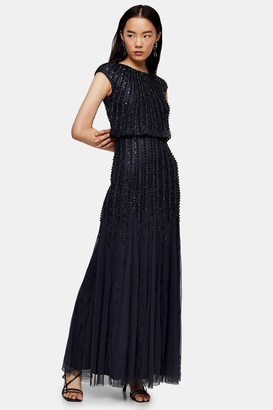 Womens **Navy Embellished Long Maxi Dress By Lace & Beads - Navy Blue