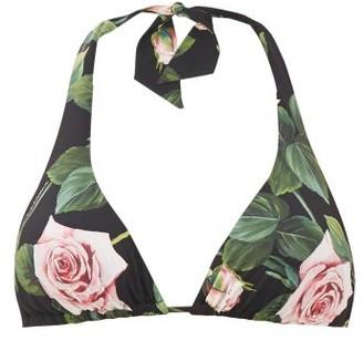 Dolce & Gabbana Rose-print Triangle Bikini Top - Black Print