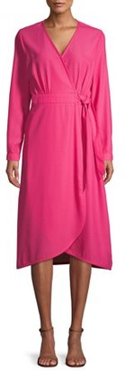 Time and Tru Women's Long Sleeve Faux Wrap Dress