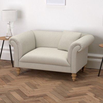 The White Company Earlsfield Cotton Love Seat, Silver Cotton, One Size