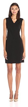 Lark & Ro Amazon Brand Women's Sleeveless Draped Front Pocket Shift Dress