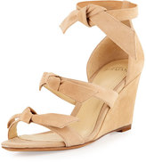 Alexandre Birman Gianna Anabela Knotted Suede Wedge Sandal, Nude