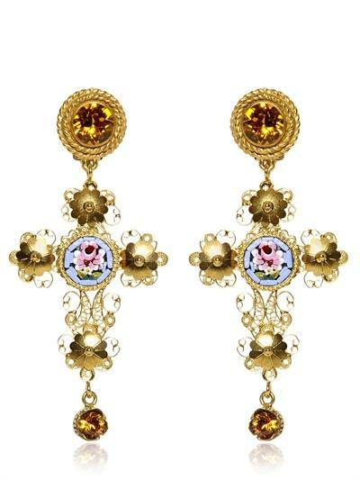 Dolce & Gabbana Small Cross Drop Earrings