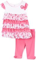 Nannette White & Pink Ruffle Top & Pink Leggings - Girls