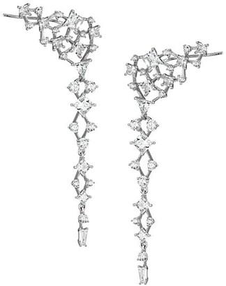 Adriana Orsini Silvertone Cubic Zirconia Cluster Climber Linear Earrings