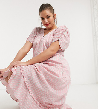 Lost Ink plus maxi smock dress with tiered skirt in stripe
