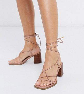 ASOS DESIGN Wide Fit Hideout block heeled minimal strap sandals in beige