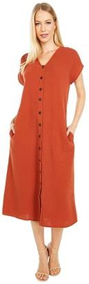 Madewell Gauze Easy Midi Dress (Faded Rust) Women's Clothing