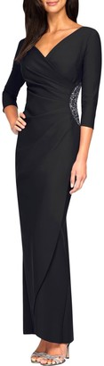 Alex Evenings Embellished Side Ruched Surplice Gown