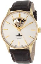 Edox Men's 85010 37J AID Les Vauberts Automatic Yellow Gold Ion-Plating Brown Leather Watch