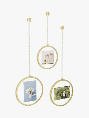 Umbra Fotochain Multi-aperture Photo Frame Display, 3 Photo, Brass