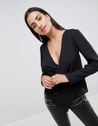 Asos Design DESIGN long sleeve top with wrap plunge neck