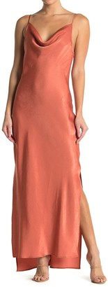 BCBGeneration Satin Cowl Neck Tie Back Cocktail Dress