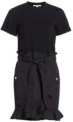 Derek Lam 10 Crosby Hudson Mixed-Media Cotton T-Shirt Dress