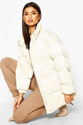 boohoo Pearlescent Belted Puffer Jacket