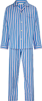 Derek Rose Stripe Woven Cotton Pyjamas, Blue/pink